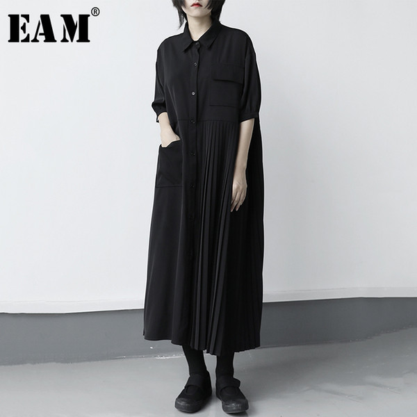 eam] women black pleated split big size long shirt dress new lapel half sleeve loose fit fashion tide spring summer 2020 1x316 c200919, Black;pink