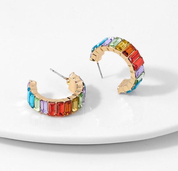 best selling Rainbow Rhinestone Hoop Earrings for Women Girls Colorful Crystal Huggie Earrings Fashion Jewelry Dazzling Circle Earrings 12 colors Epacket