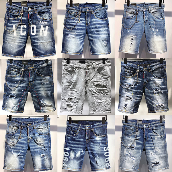 top popular 2021 New High Quality Mens Denim Motocycle Biker Skinny Shorts Ripped Jeans Clothes Man Fashion bodycon Bomber Pants D2 Short Jean 2021