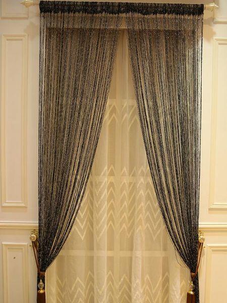 top popular ZiDeTang Flat Dense Glitter Fringe Tassel Polyester Door Curtain Deco String Room Divider Curtain Panel Window Screen Blin 2021