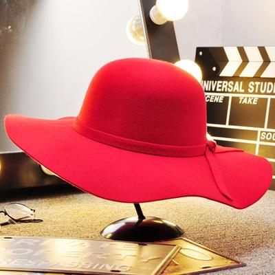 Dome ondulate di lana Hat-rosso-adulti 56-58