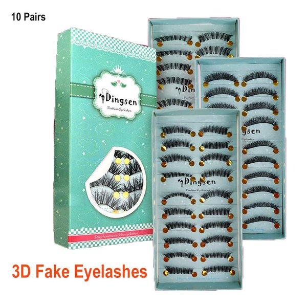 best selling 3D False Eyelashes 10 Pairs Natural Look Handmade Short Soft Reusable Eyelashes Natural Wispy Fluffy Lashes DHL Free