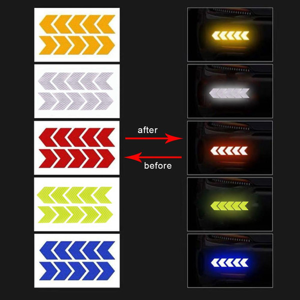 best selling Reflective Car Stickers Traffic Signal Warning Decals Arrows Pattern Motorcycle Auto Tail Bar Bumper Luminous Sticker Traffics Safety Mark