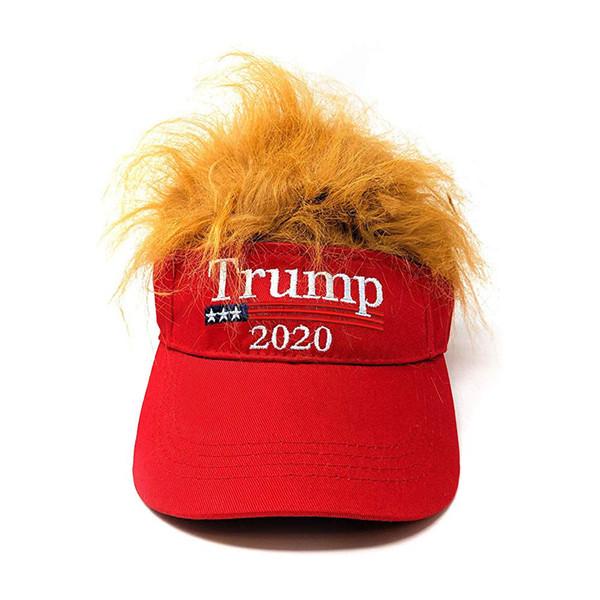 best selling Donald Trump Hair Baseball Cap Funny Outdoor Trump 2020 Empty Visor Cap Embroidery Cap Beach Sun Hats