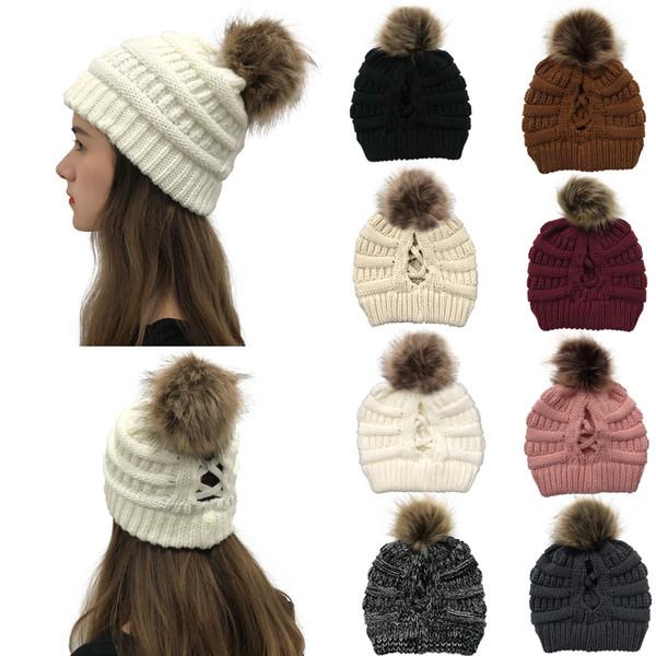 best selling 16style Criss Cross Pom Pom Beanies Women Girl Winter Knitted Hats Outdoor Ponytail Beanie Detachable Pompom Hat Knit Cross Cap GGA3740