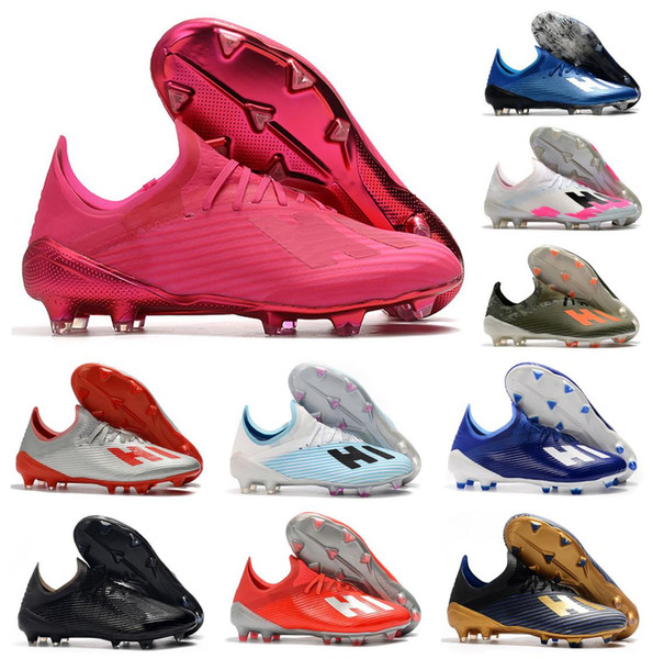 best selling 2020 New X 19.1 FG Soccer Mens Football 19+ Salah Jesus Shoes 19+x Pink Soccer Boots Soccer Cleats Size US 6.5-11