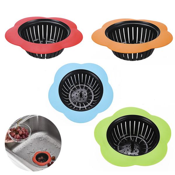 top popular Silicone Kitchen Sink Strainer Flower Shaped Shower Sink Drains Cover Sink Colander Sewer Hair Filter Kitchen Accessories 2021