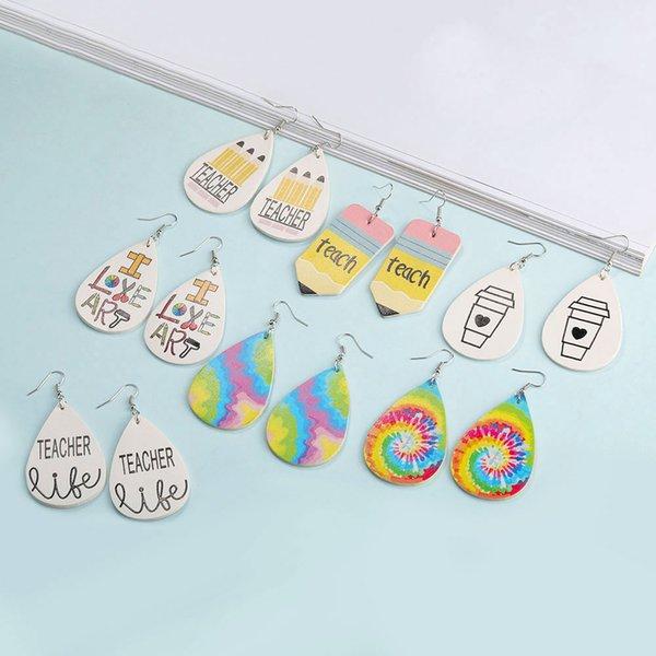 best selling New Teacher PU Leather Earring for Women Girls Cute Printed Dangle Drop Earrings Oval Waterdrop Ear Creative Earring Jewelry Gift