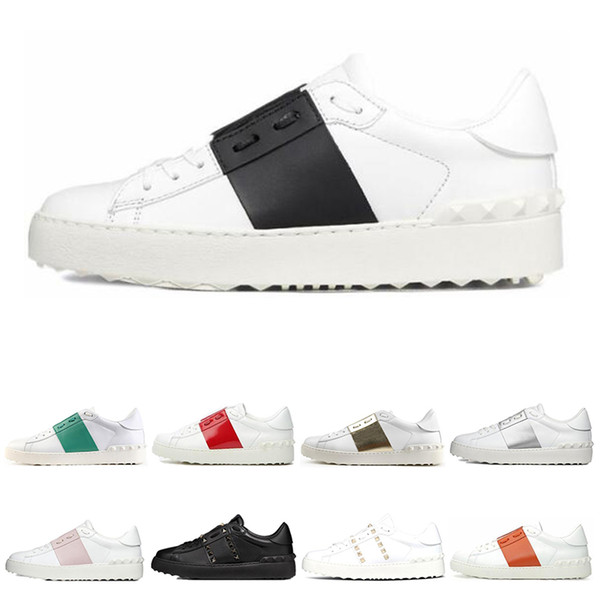 best selling Men Womens White Black Red trainers Fashion Mens Women Leather Breathable Open Low outdoor sports sneakers Dress Shoes