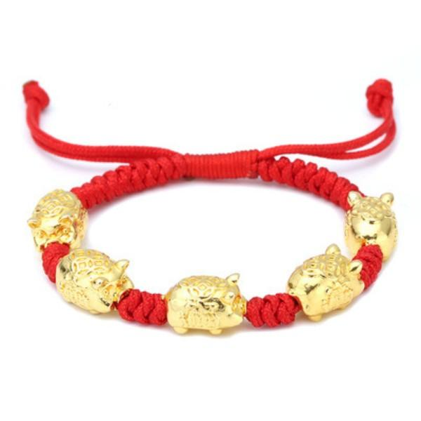 Red String Five Fortune Gold Pearl