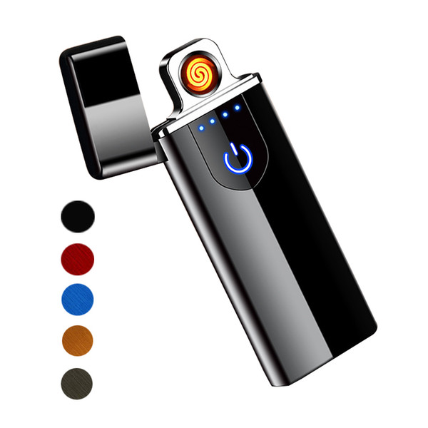best selling Touch Screen Switch Lighter 7.5mm Ultrathin USB Rechargeable Windproof Flameless Electronic Cigarette Lighters Portable Creative Lighters
