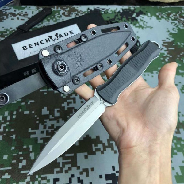 top popular BENCHMADE Infidel 133 Double-edged Tactical Stright knife Fixed Blade knife Outdoor Camping BM133 601 BM 5700 3400 4400 knife Free shipping 2021