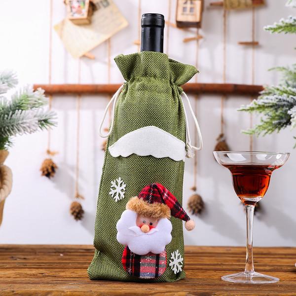Botella de vino de lino viejo verde bolsas de