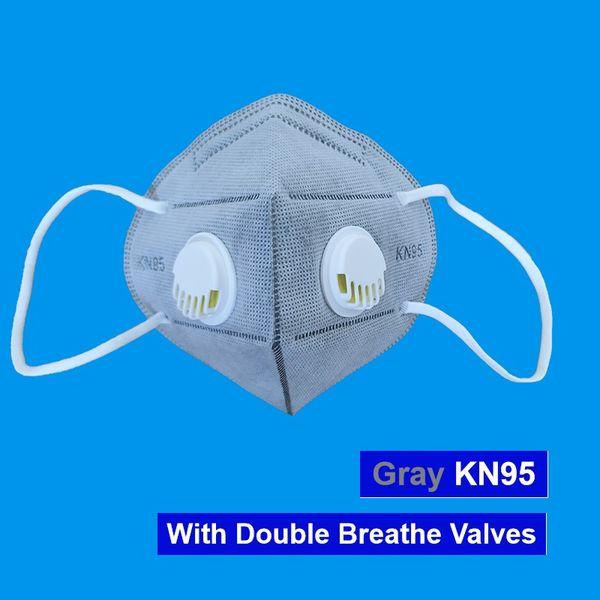 Máscara cinza com 2 válvulas
