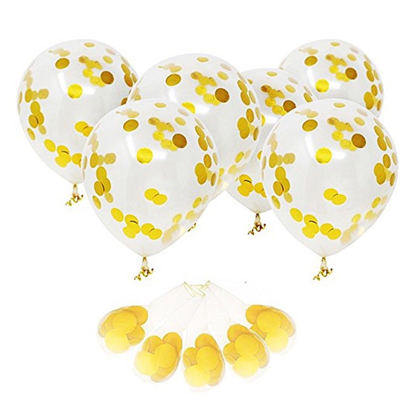 best selling 12 Inch Transparent Gold Glitter Balloon Holiday Party Sequin Balloon Decoration Wedding Arrangement Round Balloon