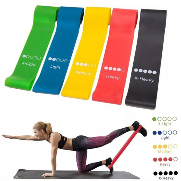top popular 5pcs Lot Yoga Resistance Bands Fitness Workout Exercise Bands with Various Strength Pull Rope Body Shaping Training Latex Pedal Bands 2021