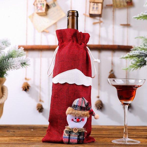 Linen бутылки вина мешок красный снеговика