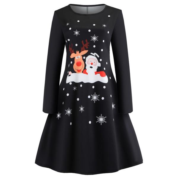 top popular Women Christmas Dress Ladies Causal Printed Long Sleeve Bodycon Evening Prom Costume Swing Dress 2021