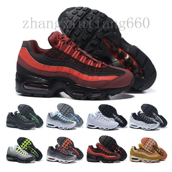top popular New Cheap Mens air sports 95 running shoes,Premium OG Neon Cool Grey sporting shoes sneakers size 40-45 V1021 2020