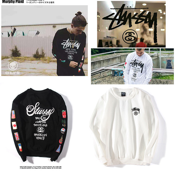 top popular NEW Brand stussy Sweaters Fashion Men Women Sweater High Quality Sweater Pullover Long Sleeve autumn Letter Printed Plus velvet Size M-XXL 2020