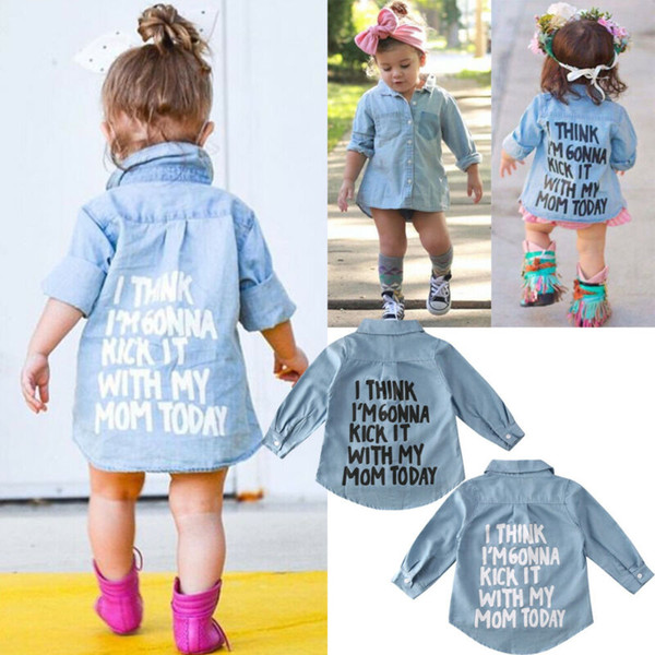 best selling Focusnorm Toddler Kid Baby Girl Autumn Warm Clothes Denim Long Sleeve Shirt Blouse Coat Shirt Jacket Letter Print Sweet 2-7Year