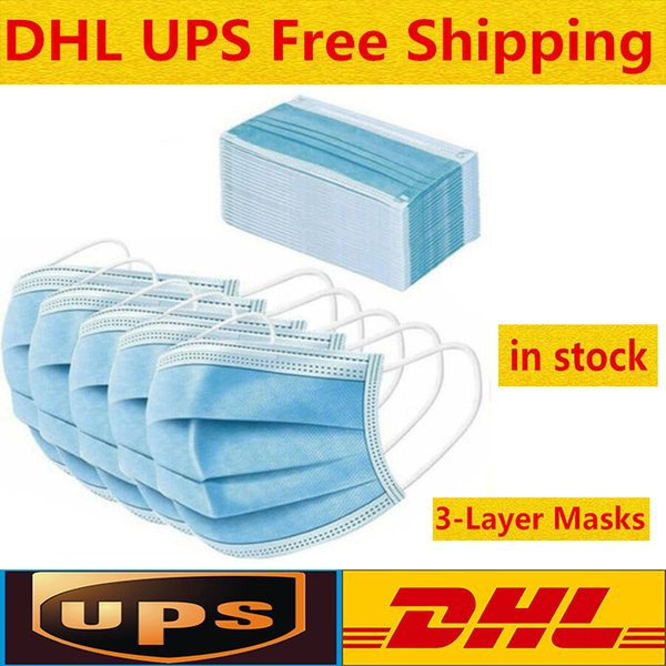 best selling 50 Pcs Disposable Face Masks Thick 3-Layer Masks with Earloops for Salon, Home Use Comfortable in stock Mask