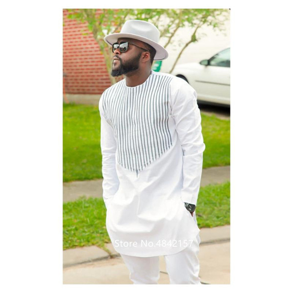 best selling New African Clothing Dashiki Dress for Men Male Design Stripe Printed Succinct White Long Sleeve Fashion Camisa Shirt Pants Set