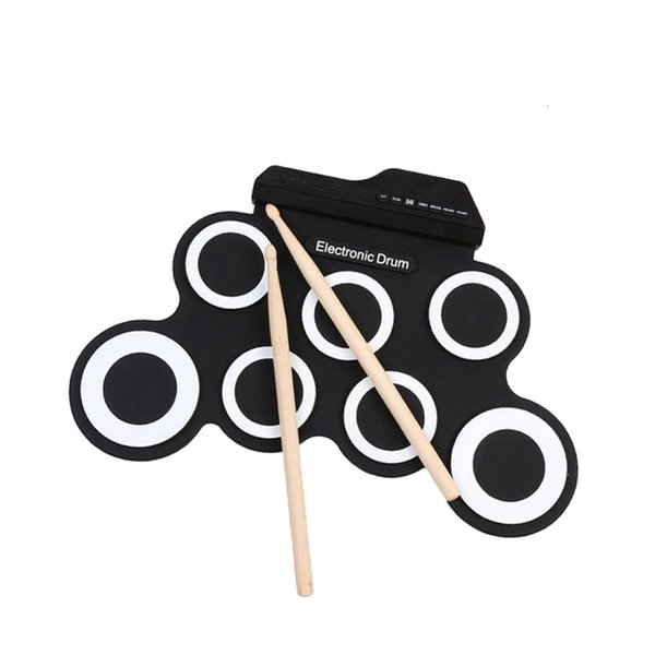 top popular Portable Electronic Drum Set Roll Up Drum Pad Kit with Built-in Speaker Drum Pedals Drumsticks 2021