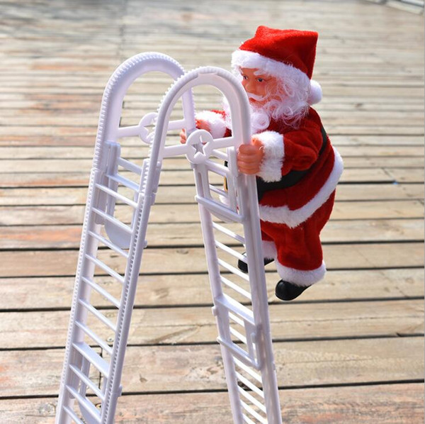 top popular Christmas Gift Dolls Santa Claus Electric Climb Ladder Christmas Tree Ornaments Xmas Toys Kids Gifts Hanging Doll Decoration LSK1163 2020