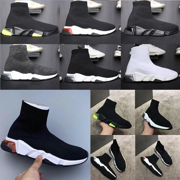 top popular designer men sport women sock speed clear sole trainer platform knitting slip-on lace-up casual shoes mens womens runners trainers soc rgcu# 2020