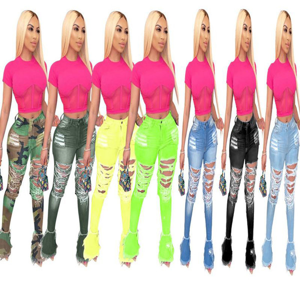 best selling Designer Women Hole Denim ripped Jeans Pants Stretch skinny Slim Pants Calf Length Jean High Waisted Ladies Fashion Woman Casual Trousers
