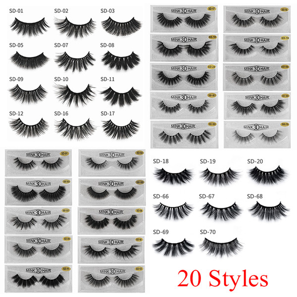 best selling 3D Mink Eyelashes Eye makeup Mink False lashes Soft Natural Thick Fake Eyelashes 3D Eye Lashes Extension Beauty Tools 20 styles