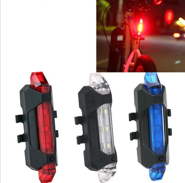best selling Cycling 5 LED USB Rechargeable Bike Bicycle Tail Warning Light Rear Safety Lamp Cycling Bike light 4 Model Warning Light Free Shipping