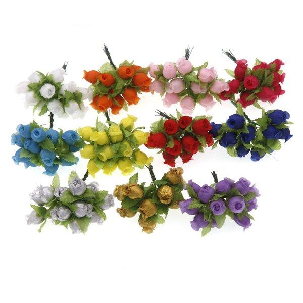 12Pcs 2cm Mini Silk Rose Flower Heads Artificial Flowers Bouquet Wedding Home Decoration Wreath DIY Candy box Accessories
