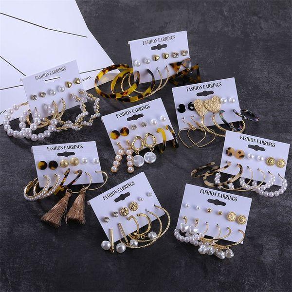 best selling Boho Gold Tassel Big Pearl Dangle Earrings Set For Women Statement Vintage Geometric Acrylic Drop Earings Fashion Jewelry 2020