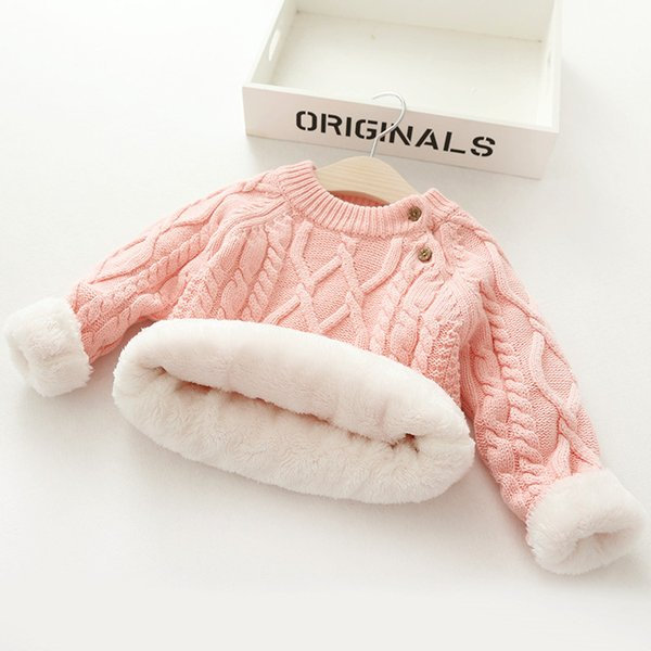 top popular Plush Inside Pure Color Winter Baby Boy And Girl Kid Thick Knitted O-Neck Shirts Solid Warm Sweater 0-5 Years 2021