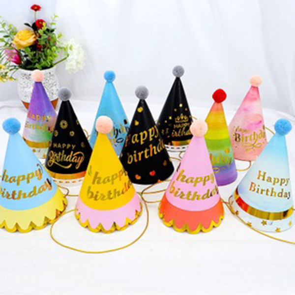 best selling Happy Birthday Patry Hat Children's Birthday Baby Adult Party Furry Ball Birthday Hat Colorful Red Series Party Hat New Decoration
