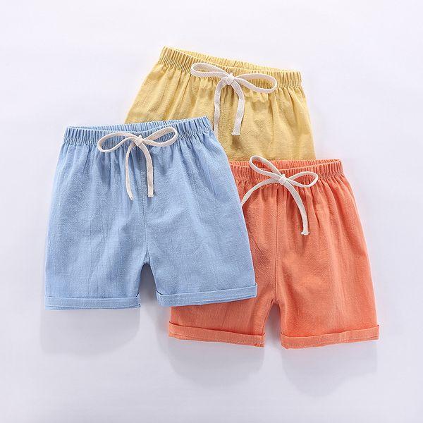 top popular Boys Shorts Kids Shorts Candy Color Girls Children Summer Beach Loose Shorts Casual Pants Cotton & Linen Comfortable 2-10Yrs Hot 2021