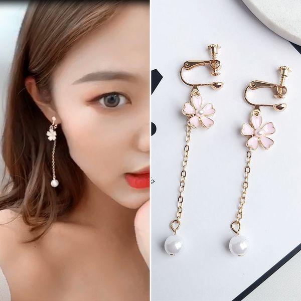 27 # Pearl Cherry Blossom Clip Orecchio