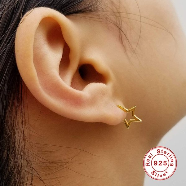 AprilGrass Brand 925 Sterling Silver Exquisite Star Stud Earrings for Women Jewelry Hollow Five-pointed Star Earrings Piercing Ear Studs