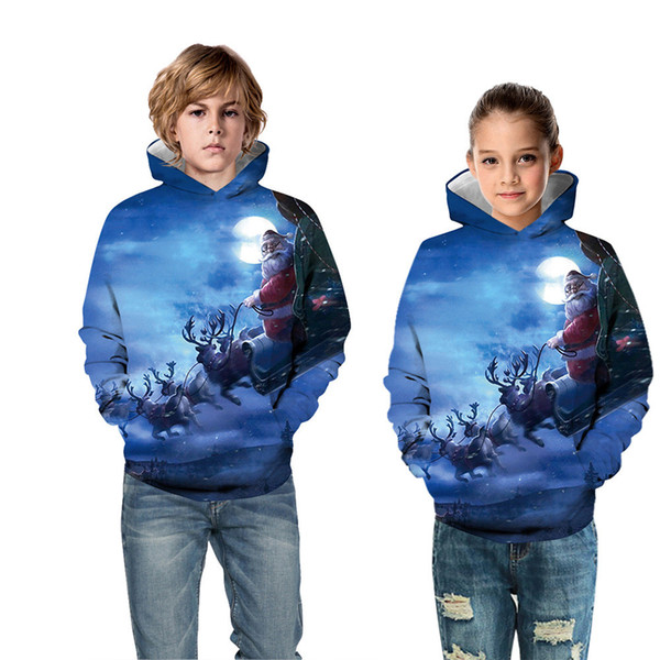 top popular New Kids Christmas Clothes Digital Printing Sweaters Children's Hooded Casual Sweater Autumn Winter Sports Children's Baseball Uniform 2021