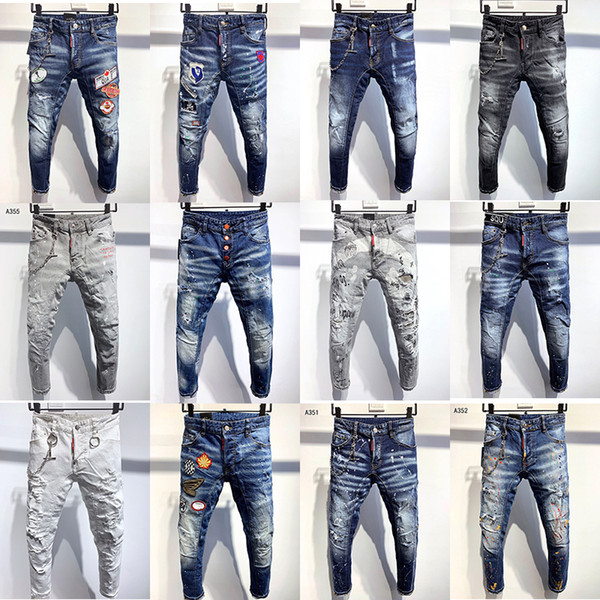 top popular High quality Designer Mens jeans Distressed Motorcycle Skinny biker Slim Ripped hole stripes Luxurys Fashion Denim pants D2 jean trousers 2020