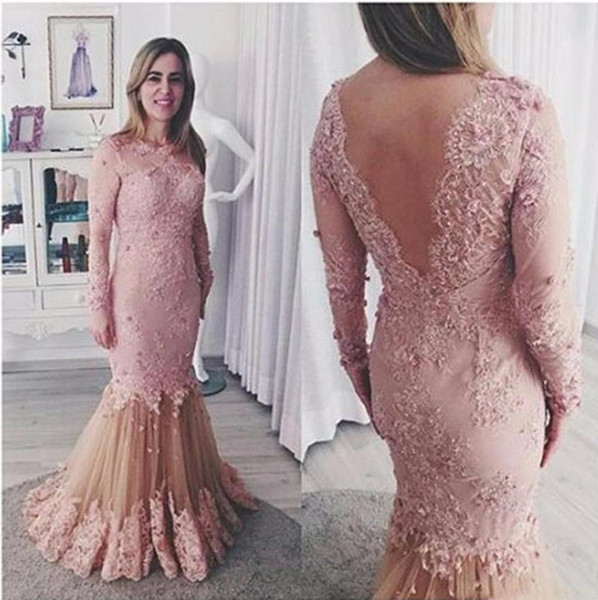 best selling Elegant Mermaid Pink Lace Mermaid Evening Dresses Full Length Sexy Backless Illusion Long Sleeve Beaded Women Prom Party Wear Formal Gowns