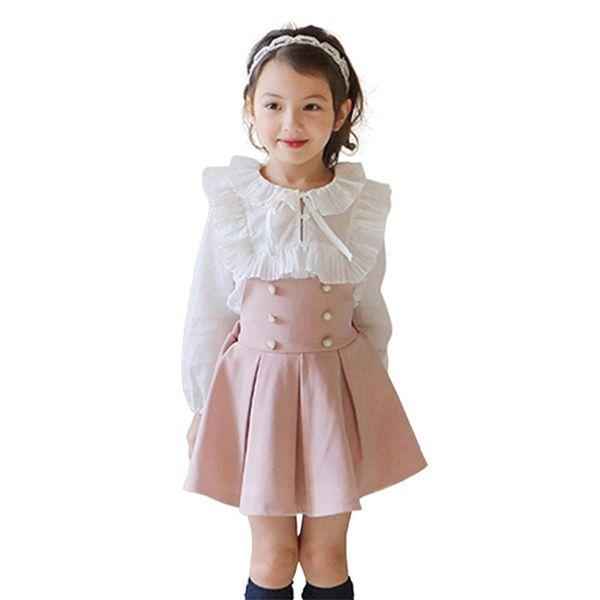 Children Clothing Sets Girls Dress + Lace T Shirt 2 Pieces Set Princess Baby Girl Autumn New Korean Clothes For Kids School Children Clothing Sets Girls Dress + Lace T Shirt
