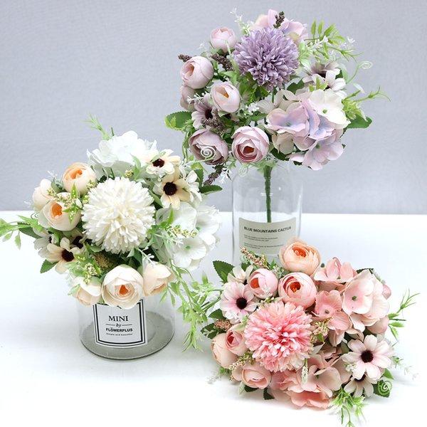 mixed flower beautiful peony artificial flower hydrangea silk fake bouquet for home wedding decoration dandelion foam