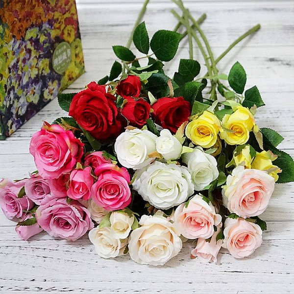 5 heads/bundle Roses bouquet wedding bridal accessories clearance vases for home decorative flowers scrapbook artificial plants