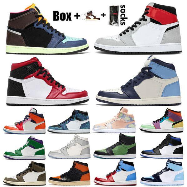 top popular 2021 Jumpman 1 Men Women Basketball Shoes 1s Smoke Grey High OG Bio Hack Bloodline Satin-Snake University Blue Trainers Sneakers With Box 2021