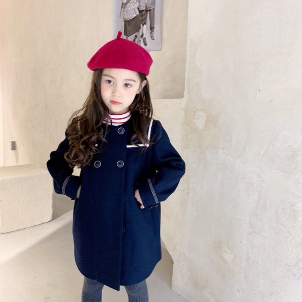 top popular New Baby Girls Coat Autumn Fashion Solid Button Toddler Jacket Winter Children Outerwear 2021