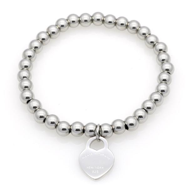 best selling New Women Copper beaded bracelet Stainless PLEASE RETURN TO Heart charms T letter Pulsera Bracelet 1pcs drop shipping