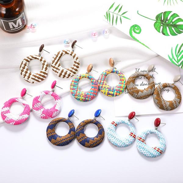 top popular Boho Rattan Woven Round Drop Dangle Earrings Fashion Handmade Colorful Big Hoop Earrings for Women Statement Jewelry Aretes 2020 2021